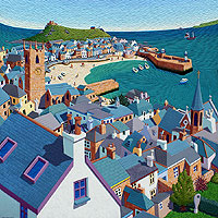St Ives Rooftops Lino by Seb West