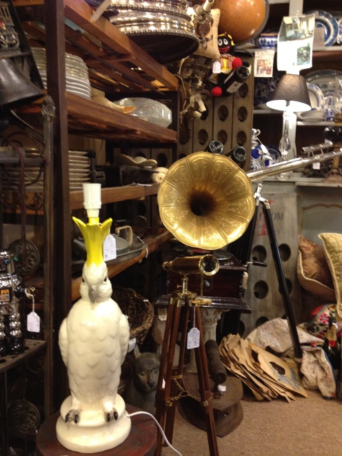 Parrot lamp and gramaphone