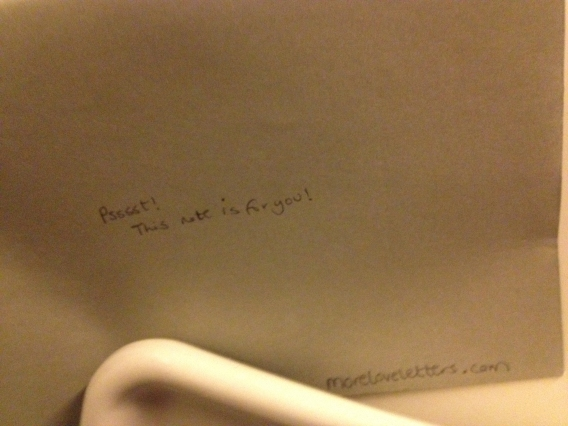 Leaving loveletters on trains