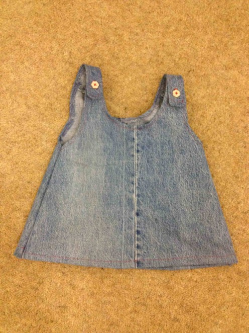 How to recycle a pair of jeans into a baby dress